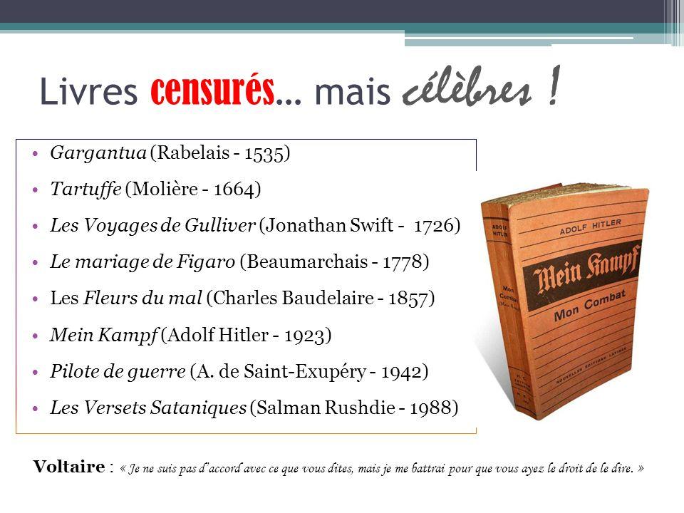 Livres censurés … mais célèbres ! Gargantua (Rabelais - 1535) Tartuffe (Molière - 1664) Les Voyages de Gulliver (Jonathan Swift - 1726) Le mariage de