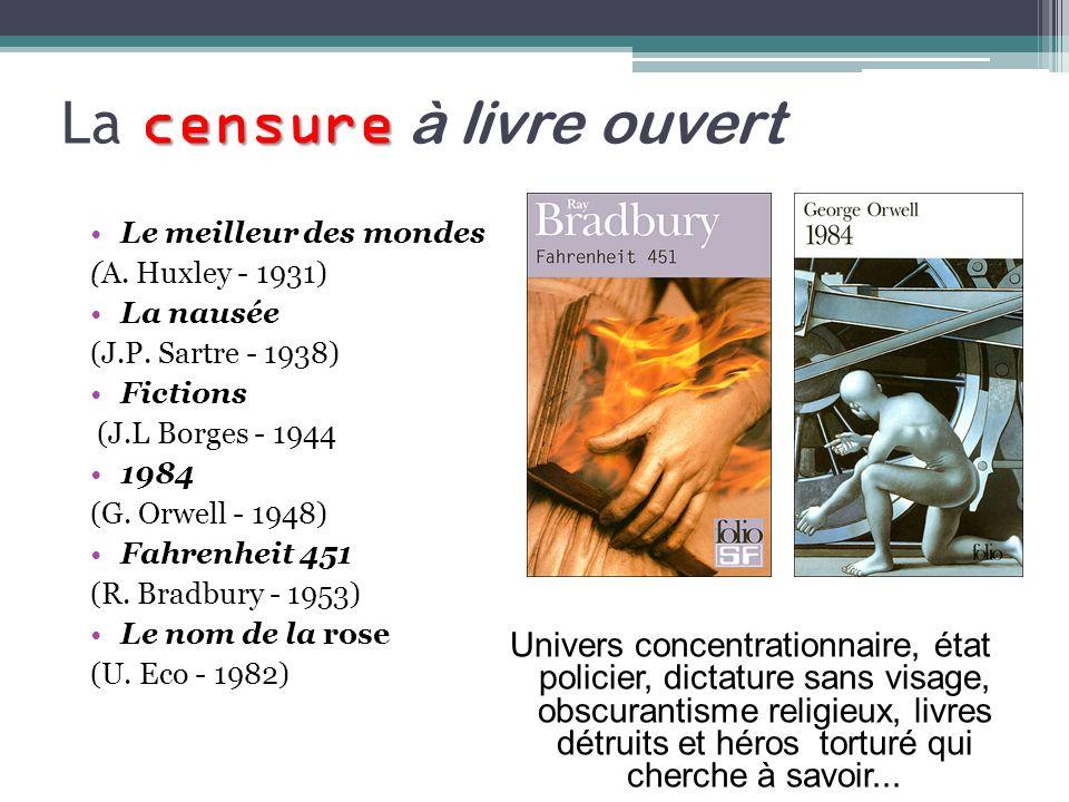 censure La censure à livre ouvert Univers concentrationnaire, état policier, dictature sans visage, obscurantisme religieux, livres détruits et héros