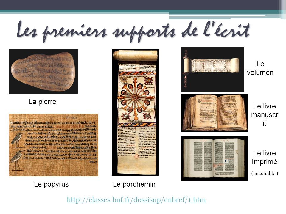 Les premierssupports de lécrit Les premiers supports de lécrit http://classes.bnf.fr/dossisup/enbref/1.htm La pierre Le papyrusLe parchemin Le volumen