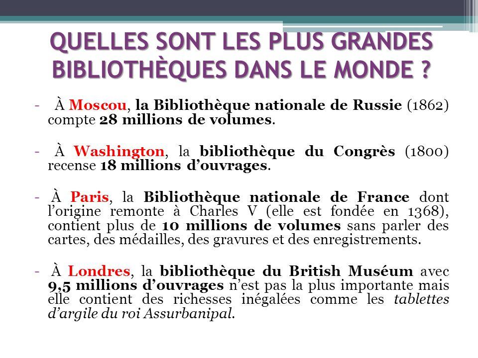 Visite livresque http://fr.wikipedia.org/wiki/Bibliotheca_Alexandrina http://portal.unesco.org/ci/fr/ev.php- URL_ID=4539&URL_DO=DO_TOPIC&URL_SECTION= 205.html (Bibliothèque dAlexandrie) http://www.bnf.fr/visiterichelieu/index.htm (Bibliothèque Nationale de France (BNF)) Sources : Microsoft ® Encarta ® 2008.