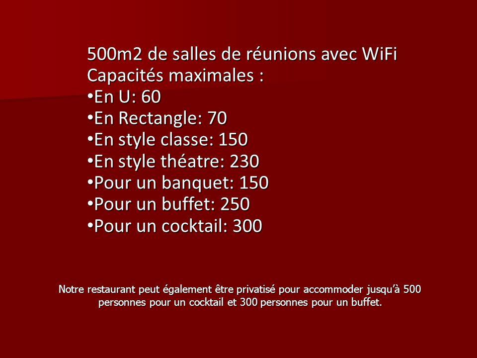 500m2 de salles de réunions avec WiFi Capacités maximales : En U: 60 En U: 60 En Rectangle: 70 En Rectangle: 70 En style classe: 150 En style classe: 150 En style théatre: 230 En style théatre: 230 Pour un banquet: 150 Pour un banquet: 150 Pour un buffet: 250 Pour un buffet: 250 Pour un cocktail: 300 Pour un cocktail: 300 Notre restaurant peut également être privatisé pour accommoder jusquà 500 personnes pour un cocktail et 300 personnes pour un buffet.