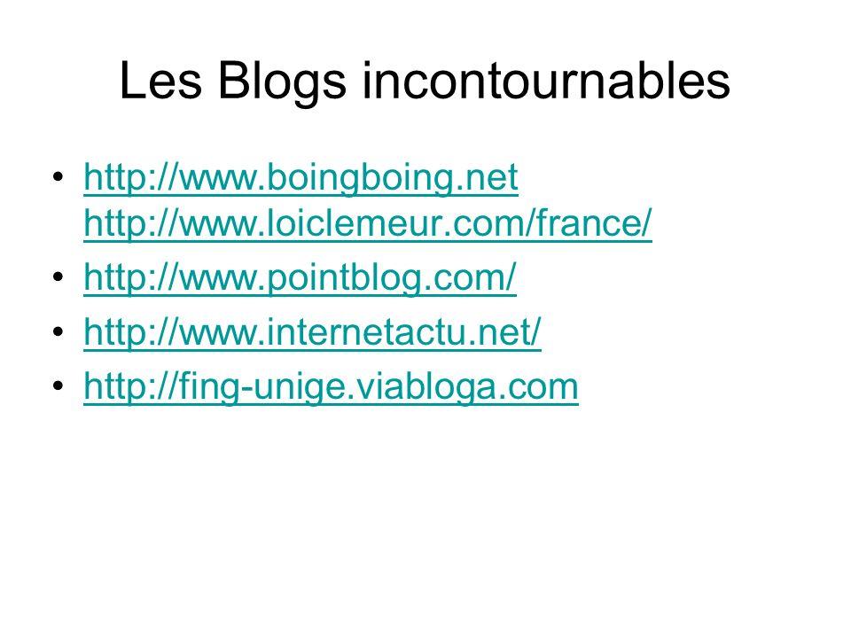 Les Blogs incontournables http://www.boingboing.net http://www.loiclemeur.com/france/http://www.boingboing.net http://www.loiclemeur.com/france/ http://www.pointblog.com/ http://www.internetactu.net/ http://fing-unige.viabloga.com