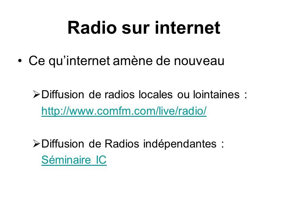 Radio sur internet Ce quinternet amène de nouveau Diffusion de radios locales ou lointaines : http://www.comfm.com/live/radio/ Diffusion de Radios indépendantes : Séminaire IC