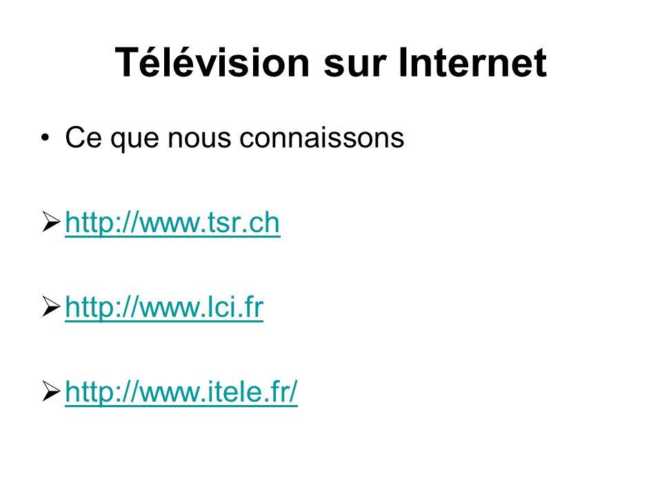 Télévision sur Internet Ce que nous connaissons http://www.tsr.ch http://www.lci.fr http://www.itele.fr/