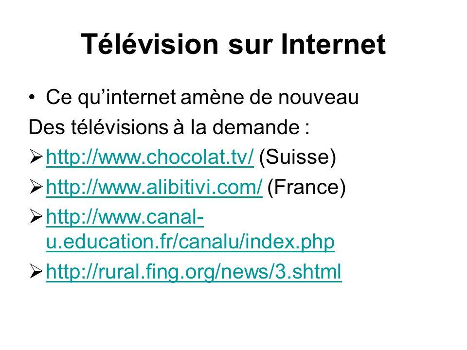 Télévision sur Internet Ce quinternet amène de nouveau Des télévisions à la demande : http://www.chocolat.tv/ (Suisse) http://www.chocolat.tv/ http://www.alibitivi.com/ (France) http://www.alibitivi.com/ http://www.canal- u.education.fr/canalu/index.php http://www.canal- u.education.fr/canalu/index.php http://rural.fing.org/news/3.shtml