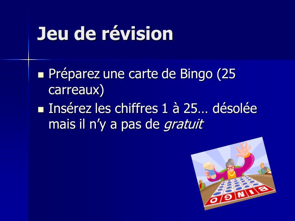Jeu de révision Préparez une carte de Bingo (25 carreaux) Préparez une carte de Bingo (25 carreaux) Insérez les chiffres 1 à 25… désolée mais il ny a