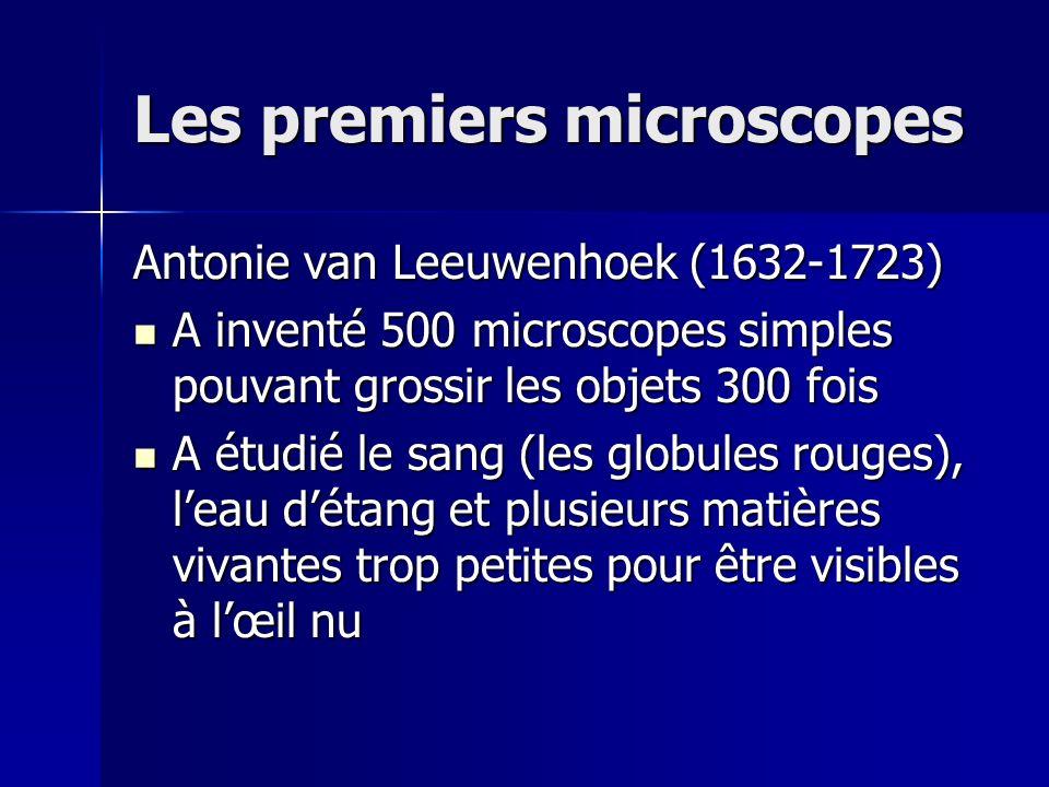 Les premiers microscopes Antonie van Leeuwenhoek (1632-1723) A inventé 500 microscopes simples pouvant grossir les objets 300 fois A inventé 500 micro