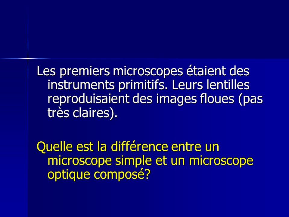 Les premiers microscopes étaient des instruments primitifs. Leurs lentilles reproduisaient des images floues (pas très claires). Quelle est la différe