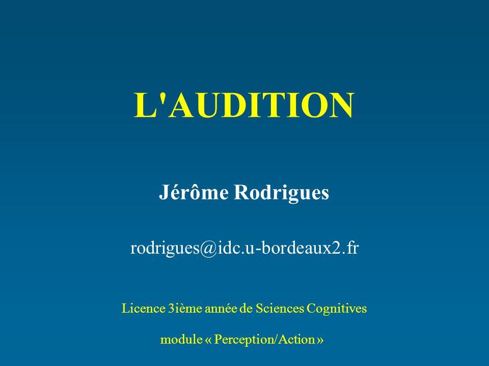 L'AUDITION Jérôme Rodrigues rodrigues@idc.u-bordeaux2.fr Licence 3ième année de Sciences Cognitives module « Perception/Action »
