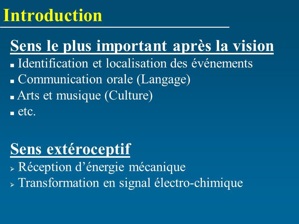 Introduction Sens le plus important après la vision Identification et localisation des événements Communication orale (Langage) Arts et musique (Cultu