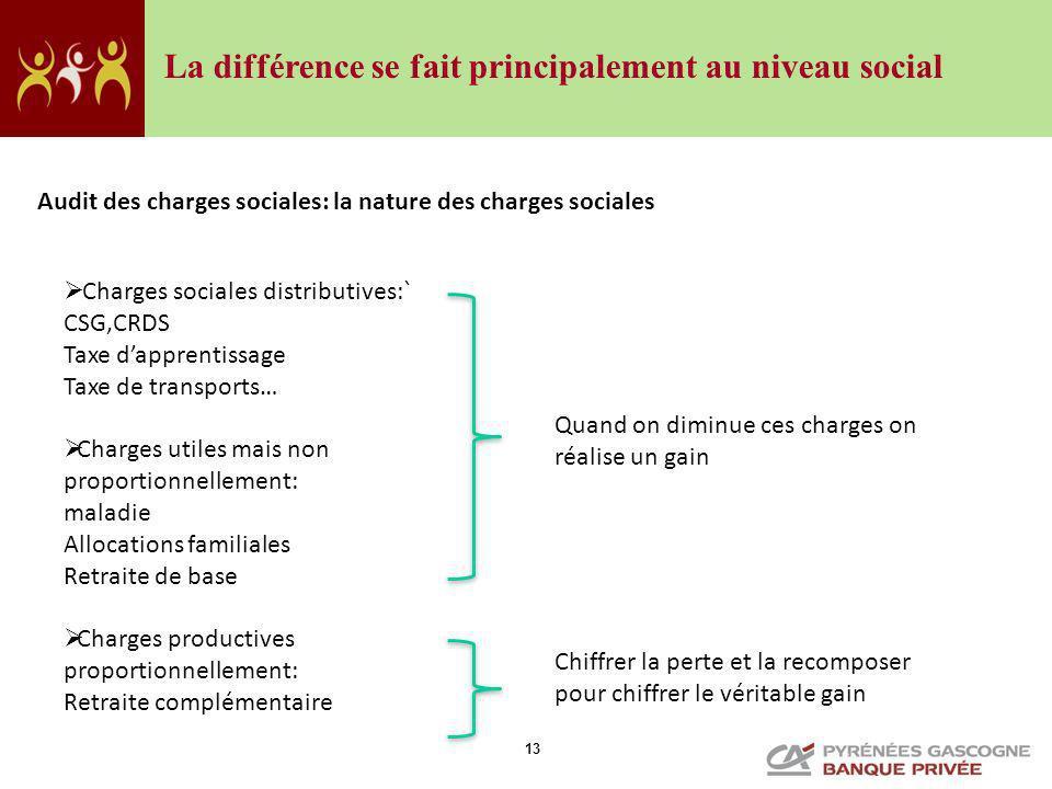 13 Audit des charges sociales: la nature des charges sociales Charges sociales distributives:` CSG,CRDS Taxe dapprentissage Taxe de transports… Charge