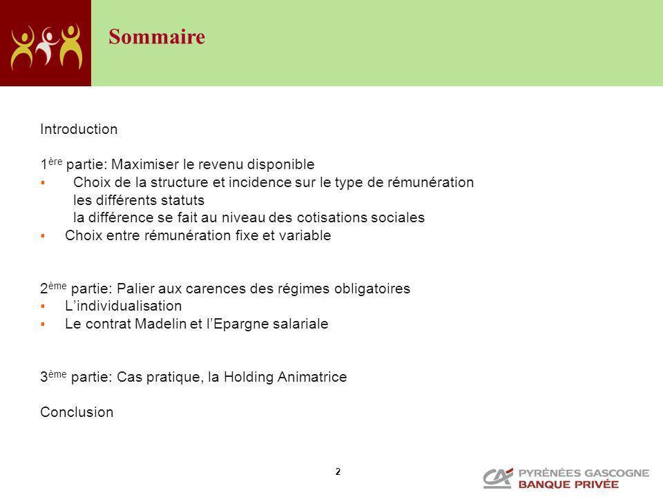 2 Introduction 1 ère partie: Maximiser le revenu disponible Choix de la structure et incidence sur le type de rémunération les différents statuts la d