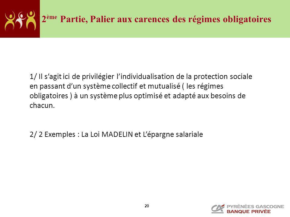 20 2 ème Partie, Palier aux carences des régimes obligatoires 1/ Il sagit ici de privilégier lindividualisation de la protection sociale en passant du