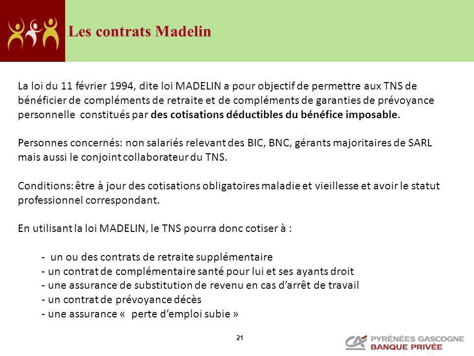 21 Les contrats Madelin La loi du 11 février 1994, dite loi MADELIN a pour objectif de permettre aux TNS de bénéficier de compléments de retraite et d