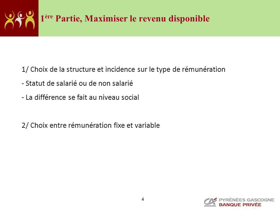 4 1 ère Partie, Maximiser le revenu disponible 1/ Choix de la structure et incidence sur le type de rémunération - Statut de salarié ou de non salarié