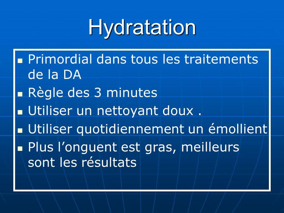 Hydratation Primordial dans tous les traitements de la DA Règle des 3 minutes Utiliser un nettoyant doux.