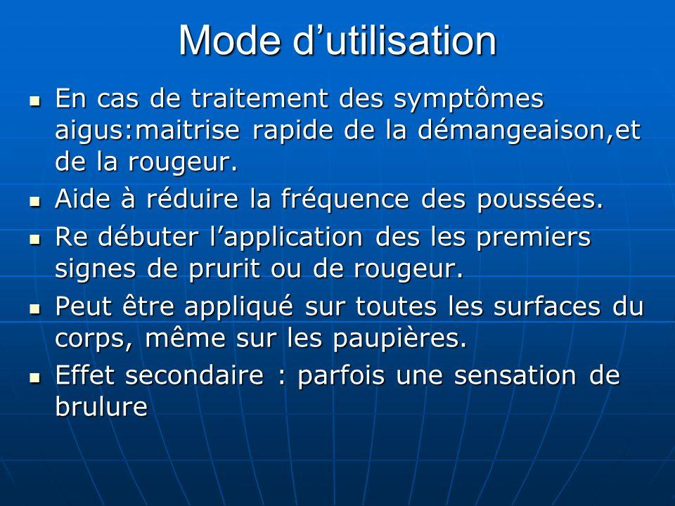 Mode dutilisation En cas de traitement des symptômes aigus:maitrise rapide de la démangeaison,et de la rougeur.