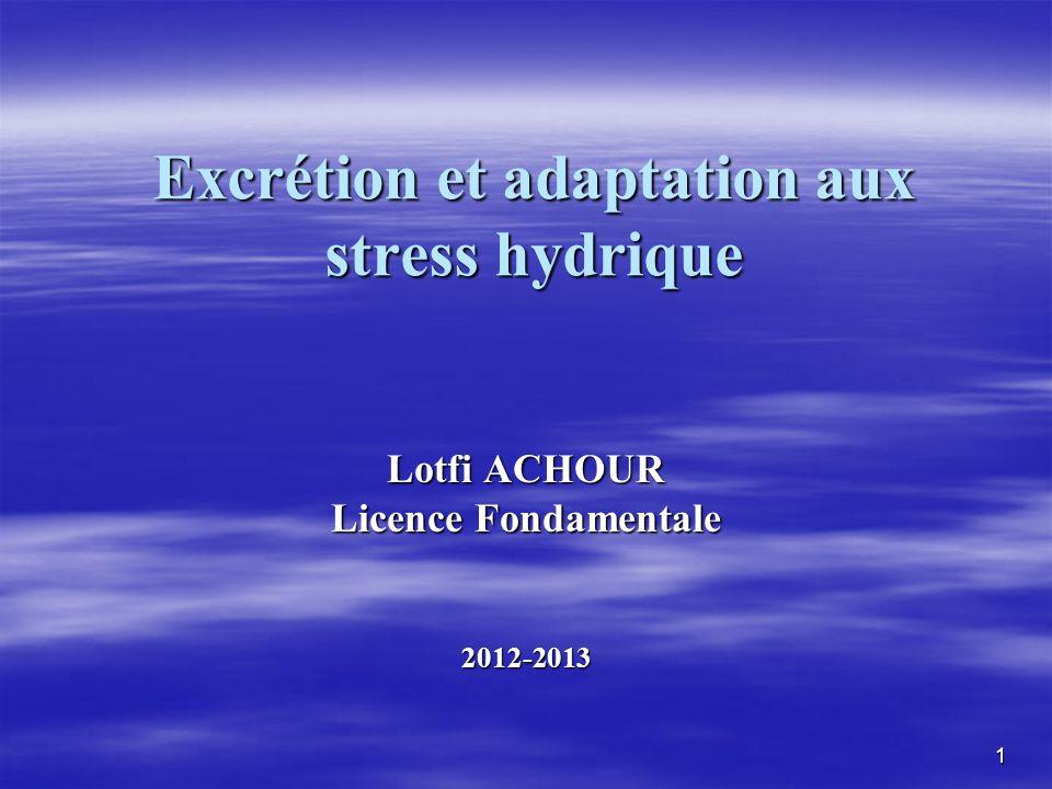 Excrétion et adaptation aux stress hydrique Lotfi ACHOUR Licence Fondamentale 2012-2013 1