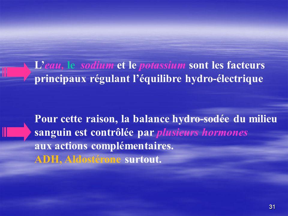 Leau, le sodium et le potassium sont les facteurs principaux régulant léquilibre hydro-électrique Pour cette raison, la balance hydro-sodée du milieu