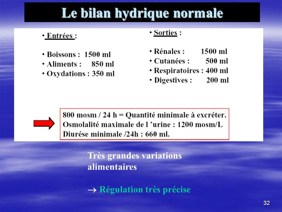 Le bilan hydrique normale Très grandes variations alimentaires Régulation très précise 32