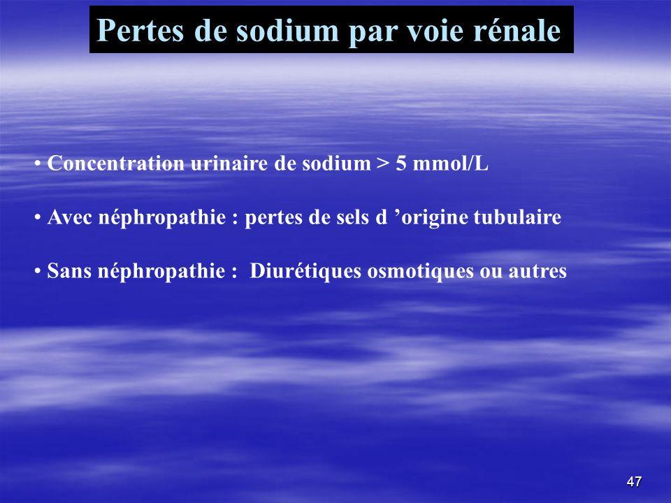 Pertes de sodium par voie rénale Concentration urinaire de sodium > 5 mmol/L Avec néphropathie : pertes de sels d origine tubulaire Sans néphropathie