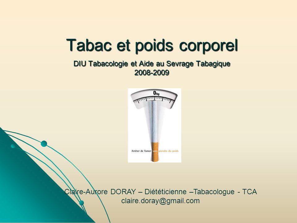 Tabac et poids corporel DIU Tabacologie et Aide au Sevrage Tabagique 2008-2009 Claire-Aurore DORAY – Diététicienne –Tabacologue - TCA claire.doray@gma
