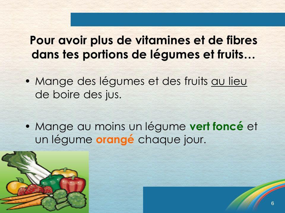 6 Pour avoir plus de vitamines et de fibres dans tes portions de légumes et fruits… Mange des légumes et des fruits au lieu de boire des jus. Mange au