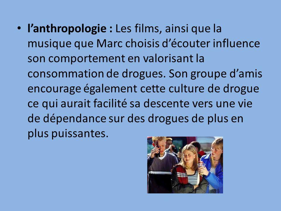 lanthropologie : Les films, ainsi que la musique que Marc choisis découter influence son comportement en valorisant la consommation de drogues.