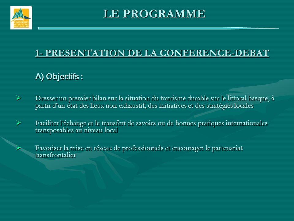 1- PRESENTATION DE LA CONFERENCE-DEBAT A) Objectifs : Dresser un premier bilan sur la situation du tourisme durable sur le littoral basque, à partir d