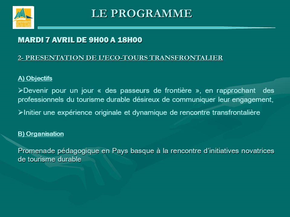 MARDI 7 AVRIL DE 9H00 A 18H00 2- PRESENTATION DE LECO-TOURS TRANSFRONTALIER A) Objectifs Devenir pour un jour « des passeurs de frontière », en rappro