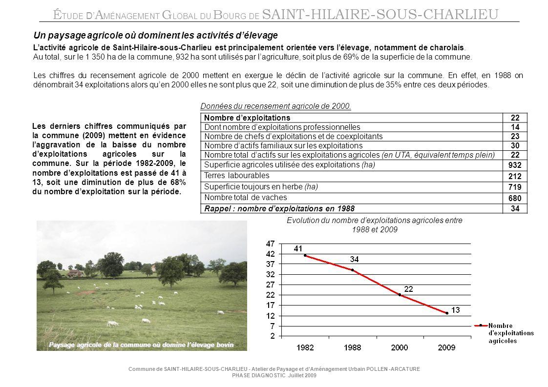 É TUDE D A MÉNAGEMENT G LOBAL DU B OURG DE SAINT-HILAIRE-SOUS-CHARLIEU Commune de SAINT-HILAIRE-SOUS-CHARLIEU - Atelier de Paysage et dAménagement Urbain POLLEN -ARCATURE PHASE DIAGNOSTIC Juillet 2009 Un paysage agricole où dominent les activités délevage Lactivité agricole de Saint-Hilaire-sous-Charlieu est principalement orientée vers lélevage, notamment de charolais.