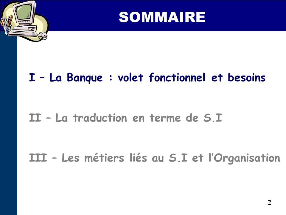 2 I – La Banque : volet fonctionnel et besoins II – La traduction en terme de S.I III – Les métiers liés au S.I et lOrganisation SOMMAIRE