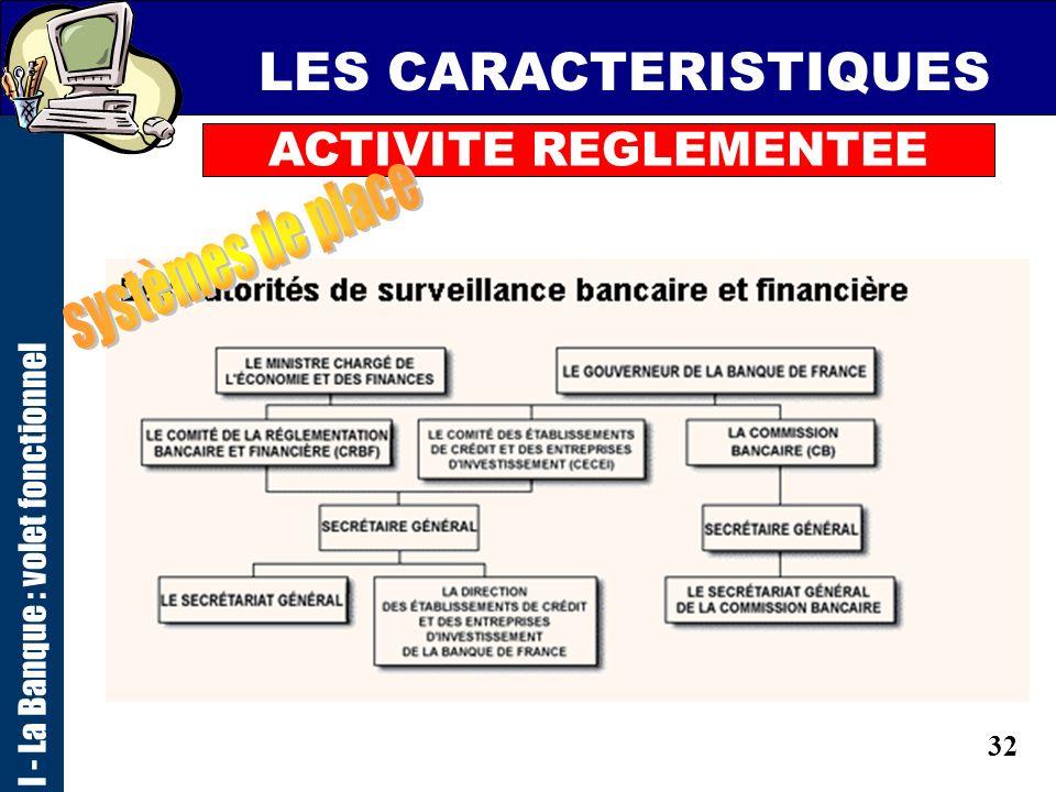 31 LES CARACTERISTIQUES ACTIVITE REGLEMENTEE un contrôle des autorités de tutelle sur le volet comptable BAFI (déclaratif commission bancaire) IAS : n