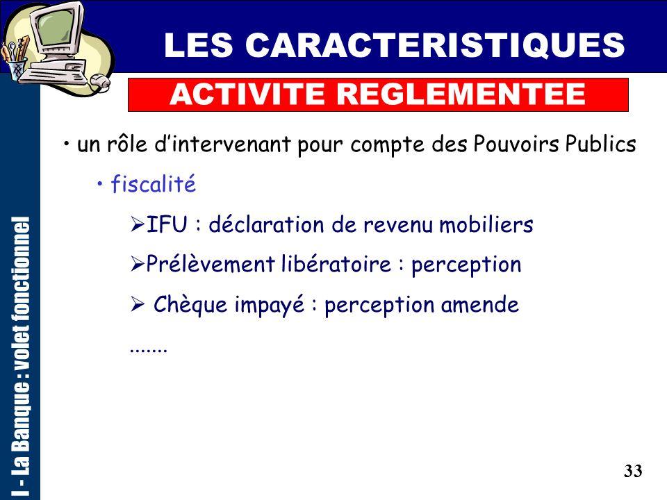 32 LES CARACTERISTIQUES ACTIVITE REGLEMENTEE I - La Banque : volet fonctionnel