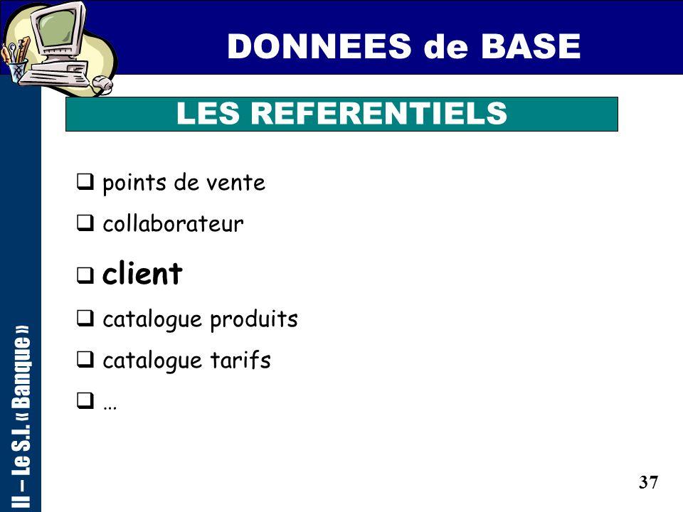 36 ARCHITECTURE S.I. II – Le S.I. « Banque » Poste de Travail Utilisateur REFERENTIELS S.I de PRODUCTION S.I de PILOTAGE S.I de REPORTING SERVEURS EXT