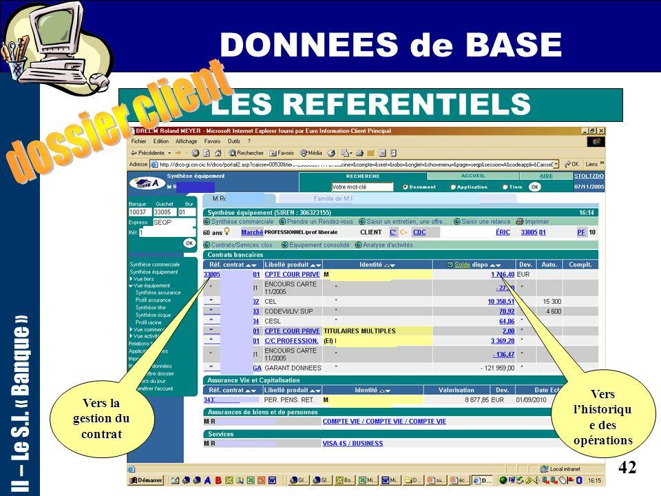 41 DONNEES de BASE II – Le S.I. « Banque » LES REFERENTIELS Accès direct au dossier « famille » Accès direct à la gestion des contacts