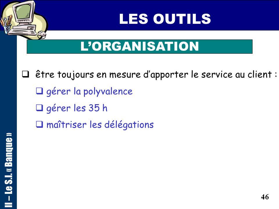 45 LES OUTILS LORGANISATION II – Le S.I. « Banque » Actualiser les données du client Créer un dossier si nécessaire Concrétiser les ventes et suivre l