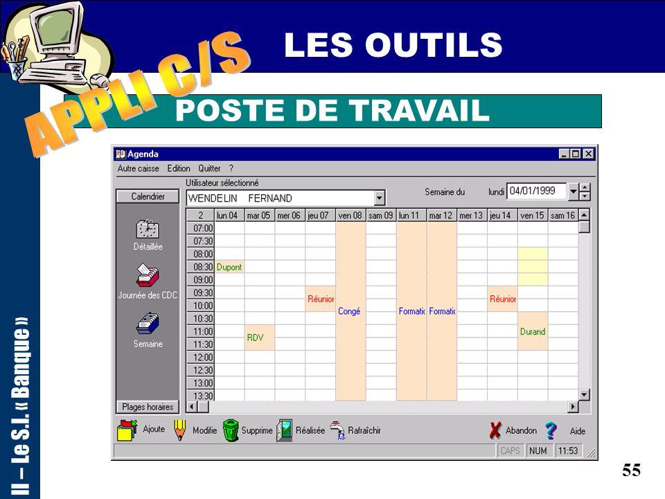 54 LES OUTILS POSTE DE TRAVAIL II – Le S.I. « Banque »