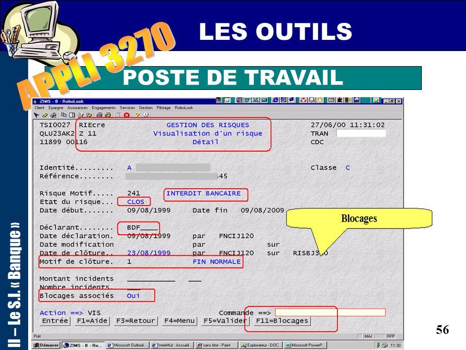 55 LES OUTILS POSTE DE TRAVAIL II – Le S.I. « Banque »