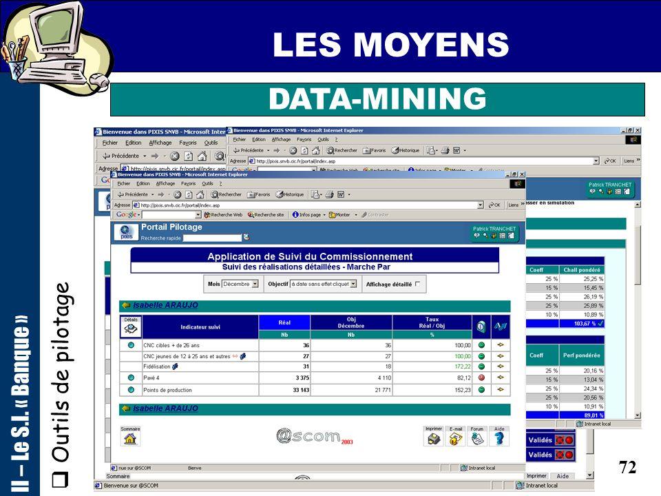 71 LES MOYENS II – Le S.I. « Banque » DATA-MINING Outils de pilotage