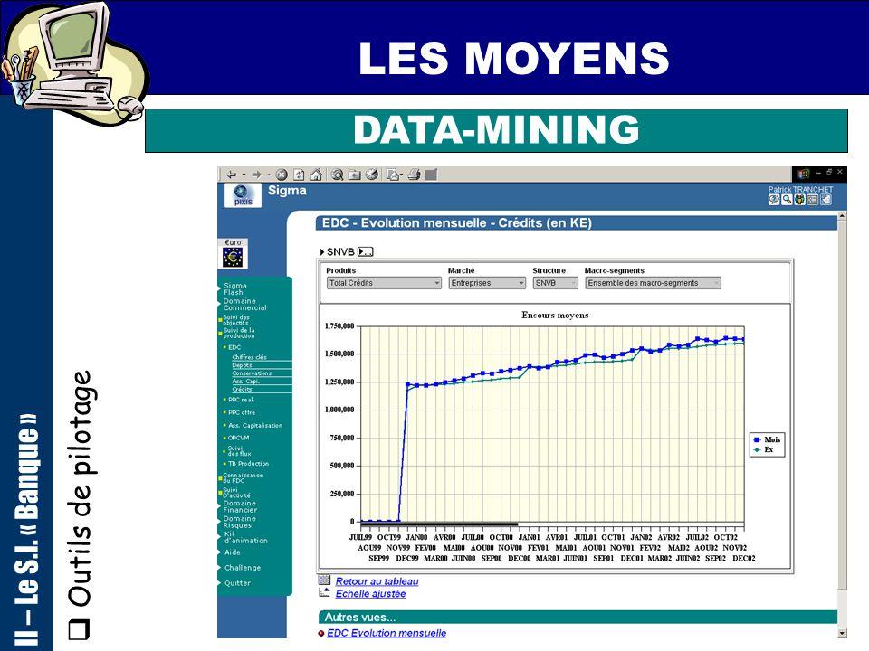 72 LES MOYENS Outils de pilotage II – Le S.I. « Banque » DATA-MINING