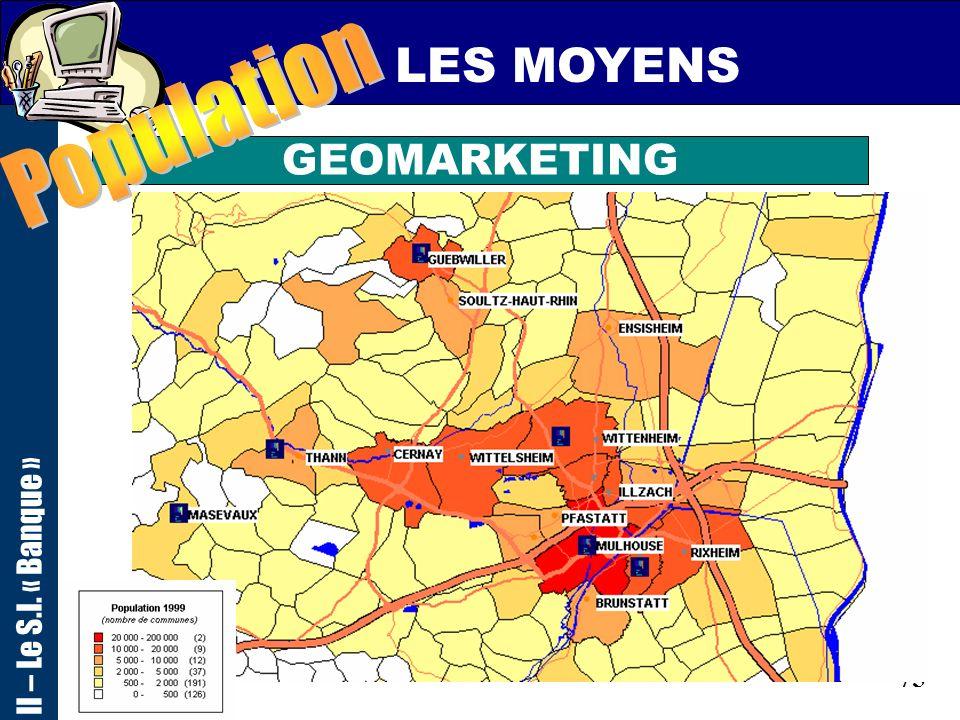 74 LES MOYENS GEOMARKETING II – Le S.I. « Banque »
