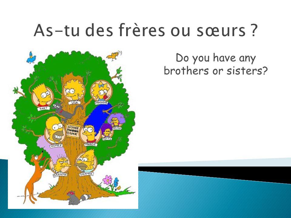 As-tu des frères et des sœurs .