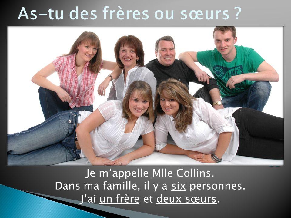 Je mappelle Mlle Collins. Dans ma famille, il y a six personnes. s Jai un frère et deux sœurs. As-tu des frères ou sœurs ?