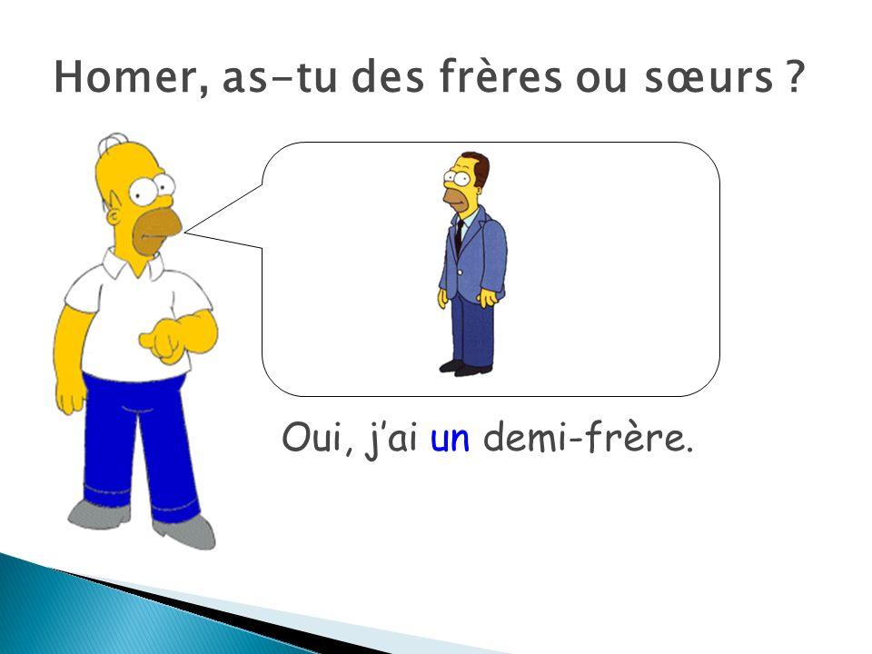 Homer, as-tu des frères ou sœurs ? Oui, jai un demi-frère.