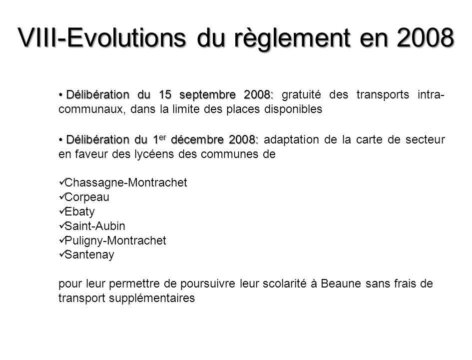 VIII-Evolutions du règlement en 2008 Délibération du 15 septembre 2008: Délibération du 15 septembre 2008: gratuité des transports intra- communaux, d
