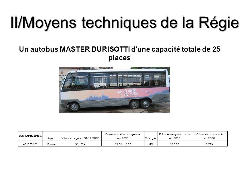Un autobus MASTER DURISOTTI d'une capacité totale de 25 places II/Moyens techniques de la Régie
