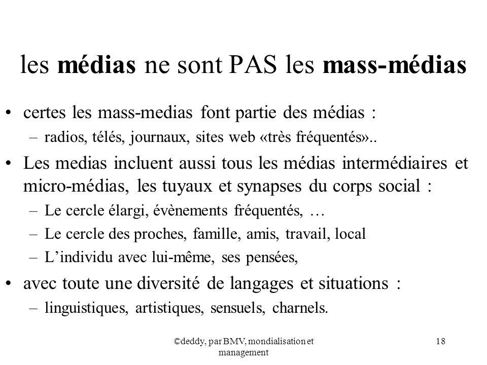 ©deddy, par BMV, mondialisation et management 18 les médias ne sont PAS les mass-médias certes les mass-medias font partie des médias : –radios, télés