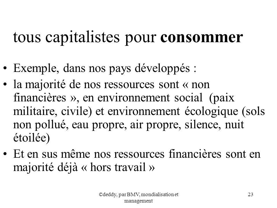 ©deddy, par BMV, mondialisation et management 23 tous capitalistes pour consommer Exemple, dans nos pays développés : la majorité de nos ressources so