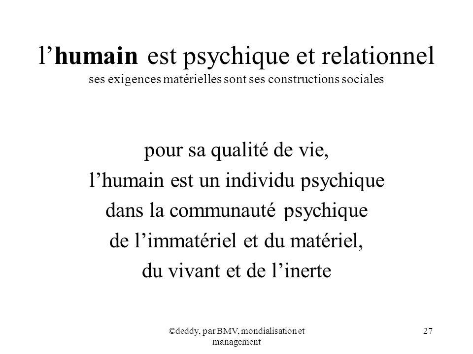 ©deddy, par BMV, mondialisation et management 27 lhumain est psychique et relationnel ses exigences matérielles sont ses constructions sociales pour s